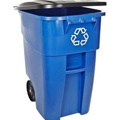 Heavy Duty Rolling Recycle Recycling Container Garbage Trash Can Bin Wastebasket