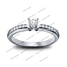 Rd Sim Diamond Solitaire With Accents Engagement Ring In 14k White Gold Fn 925 #Unknown #SolitaireWithAccentsRing