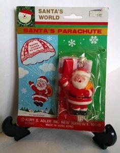 Santa's Parachute - Kurt S. Adler - Santa's World Vintage MOC Rack Toy Retro
