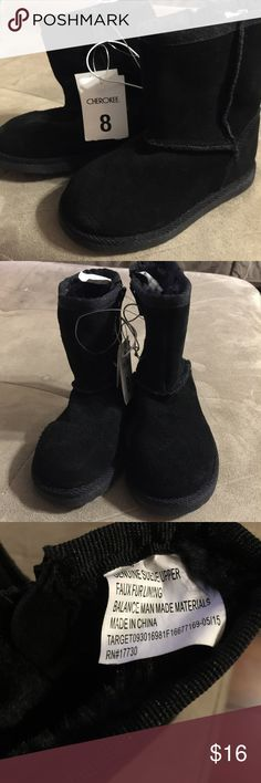 Girl's Suede Boots New with tags Girl's Suede boots. Genuine Suede Upper, Faux Fur Lining. Man Made Materials. Cherokee Shoes Rain & Snow Boots