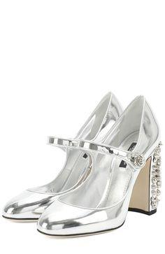 Женские серебряные туфли vally из металлизированной кожи на каблуке с  декором Dolce   Gabbana 5d3c0e7cbe773