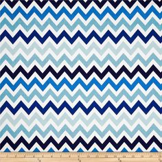 Remix Chevron Surf from @fabricdotcom  Designed by Ann Kelle for Robert Kaufman, this cotton print is perfect for quilting, apparel and home décor accents.   Colors include white and shades of blue.  This chevron is printed horizontal to the selvedge as pictured.