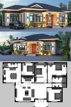 Bungalows are timeless and are always trendy. They have been there since time immemorial and their beauty never fades. They are always preferred by homeowners House Layout Plans, Bungalow House Plans, Dream House Plans, House Layouts, House Plans Design, Modern Bungalow House Design, Modern Bungalow Exterior, 4 Bedroom House Plans, Modern Houses
