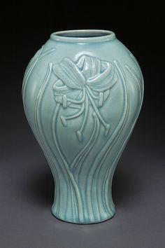 linda heisserman lilly vase celadon relief pottery ceramics clay