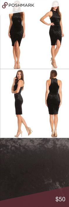 Sleeveless black velvet dress 🔥🔥Black Velvet.🔥🔥so beautiful and elegant! It hides body flaws!!  Knee length. Super sexy on!!! Brand new; never worn.  Material is 95% rayon, 5% spandex. Dresses