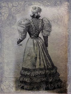 Back side of a dress, shown in the 1893 july issue of the Mode Pratique newspaper.