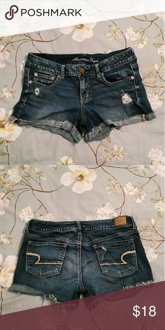 American Eagle Super Stretch Shorts Stretchy! There are rips on the front but that's how they came American Eagle Outfitters Shorts Jean Shorts