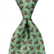 Shrimp Tie – Green Custom necktie designed in New Orleans and handmade from 100% natural silk.