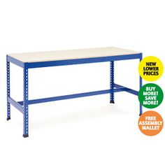 eavy Duty Work Benches with t-bar support  Choice of high density chipboard or melamine work surface  Each shelf can take 300 kg UDL  Protective feet  http://www.rapidracking.com/p/21/201/494/Workbenches/Heavy%20Duty%20Workbenches/Heavy%20Duty%20Work%20Bench%20TBar.htm