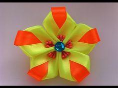 Украшение на резинку Канзаши/Яркий цветок - YouTube