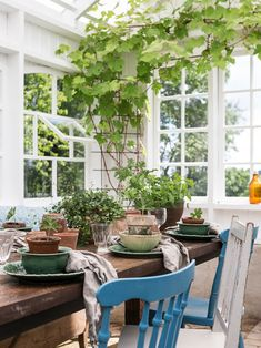 Made In Persbo: Växthusdrömmar Scandinavian Cottage, Painting The Roses Red, Glass House, Garden Paths, Sunroom, Outdoor Spaces, My House, Pergola, Table Settings