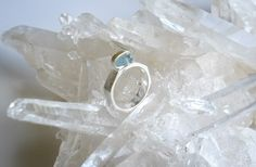 Delicate Aquamarine Crystal Ring set in Sterling Silver. Hand made crystal jewelry. Unique crystal jewelry. Silver crystal ring. by JayenPerkalJewelry on Etsy