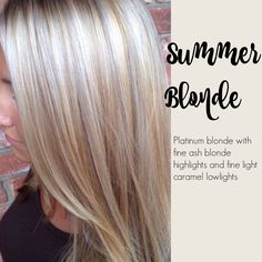Summer blonde - Platinum blonde with fine ash blond highlights and fine light caramel low-lights.