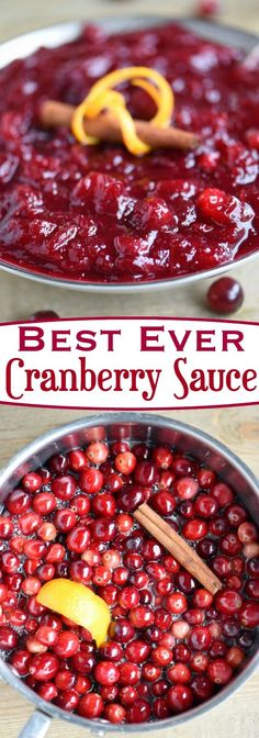 Look no further for the Best Ever Cranberry Sauce! This easy and delightful recipe takes only 15 minutes to make and a handful of ingredients! Spiced with cinnamon and sweetened with orange juice, it is the best combination of sweet and tart! The perfect complement to your holiday meal! // Mom On Timeout #Thanksgiving #cranberry #sauce #recipe