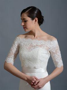Off-Shoulder Alencon Lace Bridal Bolero Wedding jacket shrug WJ002