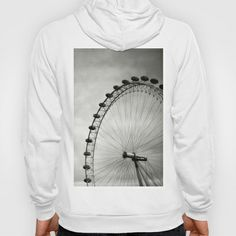 London Eye Hoody by Anja Hebrank - $42.00   #london #londoneye #uk #england #clouds #old #vintage #streetphotography #canon #present #decoration #kitchen #interior #bnw #blackwhite #travelling #travelphotography #design #individual #society6 #print #art #artprint #interior #decoration #design #fashion #clothes #clothing #tshirt #shirt #top #zipper #hoodie #jumper #pullover
