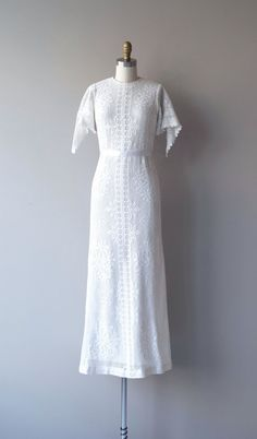 Vintage 1960s white cotton crochet lace wedding gown from B. Altman with…
