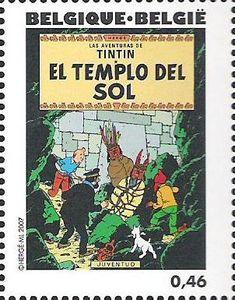 Belgian stamps Hergé, 1907-2007. 'De zonnetempel'