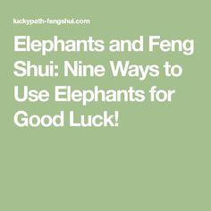 Elephants and Feng Shui: Nine Ways to Use Elephants for Good Luck!