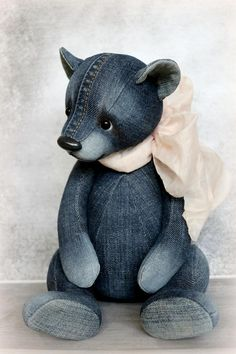 Denim teddy by Furry Happiness on Tedsby Sewed from jeans. Filler sawdust and mineral granulate. Toned with artistic oil paints. Only he sits. Stands with support. Diy Teddy Bear, Knitted Teddy Bear, Cute Teddy Bears, Crochet Bear, Stuffed Teddy Bears, Crochet Dolls, Teddy Bear Patterns Free, Teddy Bear Sewing Pattern, Softie Pattern