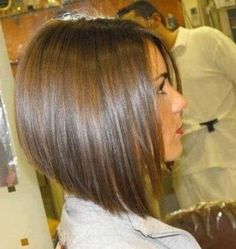 Inverted Bob Haircuts - Plain Inverted Bob in Dark Brown