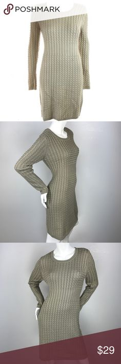 Calvin Klein Petite Khaki Cable-Knit Sweater Dress Calvin Klein Petite Khaki Cable-Knit Sweater Dress PM. Features long sleeve, crew neck, fitted cable knit Sweater dress. 100% acrylic. Calvin Klein Dresses Midi