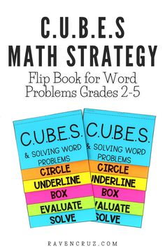 Do you use the CUBES math strategy? C.U.B.E.S. math strategy is commonly used to teach students how to deconstruct word problems to make them easier to solve. This flip book is an interactive way for students to remember the steps of the math strategy. #mathwithraven Math Worksheets, Math Resources, Math Activities, Multiplication Strategies, Math Strategies, Cubes Math Strategy, Common Core Math Standards, Flip Books, Third Grade Math