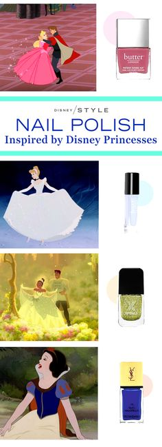 Find the perfect nail polish inspired by your favorite Disney Princess! | Aurora + Cinderella + Tiana + Snow White | [ https://style.disney.com/beauty/2016/03/11/nail-polish-inspired-by-the-disney-princesses/#aurora ]
