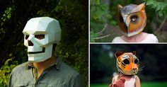 Designer Steve Wintercroft has a series of inexpensive 3D geometric mask templates that you can download, print, and color. From animals and skulls to stormtroopers.