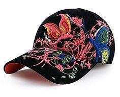 b200eba0650 Yanzi6 Women Casual Embroidered Butterfly flower Baseball Cap Fashion Hat  Baseball Caps For Sale