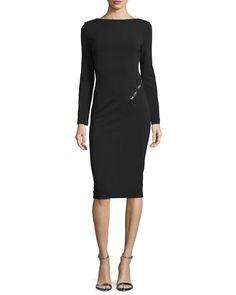 Long-Sleeve Scoop-Back Sheath Dress, Black