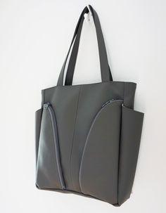 9ff6ab393e Large bags · The Genève - soft dark grey vegan   faux leather shoulder bag  - FRONT view Full