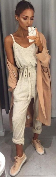 #summer #popular #outfits | Apricot Trench + Yellow Oversized Jumpsuit