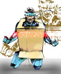 Solid Snake hiding in his super upder duper gundam mech. Crossover metal gear solid