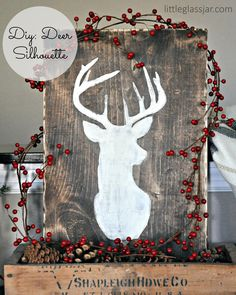 DIY: Rustikale Hirsch Silhouette Art www.littleglassja … Source by lmwcara Christmas Canvas, Cozy Christmas, Christmas Signs, Rustic Christmas, Christmas Projects, Holiday Crafts, Christmas Decorations, Hirsch Silhouette, Deer Silhouette