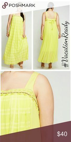 """Lane bryant pleated front maxi dress 18 20 POLYESTER MACHINE WASH IMPORTED LENGTH: 44.5""""  A dress like this makes getting ready easy. Details = covered: sheer poet sleeves, classic peasant neckline and lace trim. Lined. Lane Bryant Dresses Maxi"""