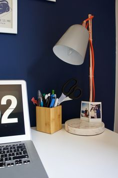 Navy home office and Oliver Bonas copper marble lamp