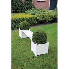 Esschert Design Tuinbank met Plantenbakken - Grijs