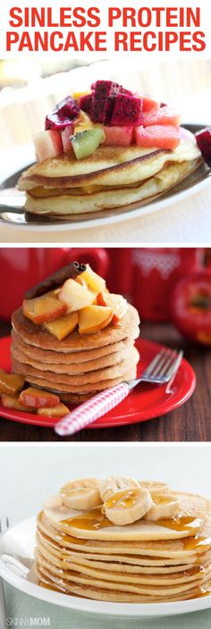 No Grains Protein Pancakes: In a blender or food processor, combine ¼ cup of coconut flour, one tablespoon of ground flaxseed, one egg, three egg whites, ¼ cup of unsweetened almond milk and ½ tsp. baking soda. Pour the batter into a preheated, pre-greased pan making sure the entire batter is spread out into a large circle. Cook both sides and then top with your favorite fruit, nut butter spread, or sugar-free syrup or jelly.