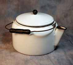 Vintage Tea Pot with Lid and Wood Handled Wire Bale - Granite Ware Pot