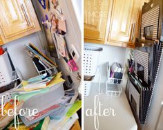 organize paperwork and school work in the kitchen