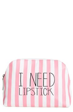 Itsa girl Thing 'I Need Lipstick' Stripe Cosmetics Case available at #Nordstrom