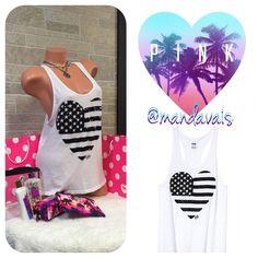 Victoria's Secret PINK Black sequin Heart Flag Lightly worn 2X. Excellent condition, black sequin bling heart shaped American Flag. PINK Victoria's Secret Tops Tank Tops