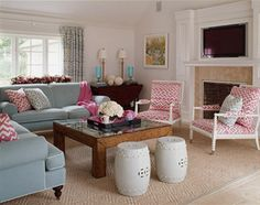 :: i've been trying to figure out how to layout my sunroom, and this picture is loads of help! We have big windows and a fireplace in the very same spots. I feel that this room is a touch larger though...