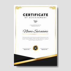 Elegant certificate template with golden subtle frame Certificate Of Appreciation, Certificate Of Achievement, Frame Template, Banner Template, Math Border, Certificate Background, Event Poster Template, Graduation Greetings, Certificate Design Template
