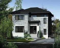 Plan image used when printing Contemporary Style Homes, Contemporary Design, Front Elevation, Square Feet, Baths, House Plans, Home Plans, House Plans Design, Modern Design
