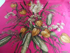 Vintage satin scarf / headscarf, bright fuchsia pink with a striking harvest bouquet design by BlindDogVintage on Etsy