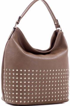 Concealed Carry Ambidextrous Studded Hobo Handbag Purse w/ Holster - Beige - Handbags & Purses