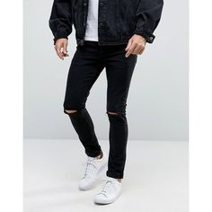 ASOS Super Skinny 12.5oz Jeans With Knee Rips True Black ($49) ❤ liked on Polyvore featuring men's fashion, men's clothing, men's jeans, black, asos mens jeans, mens torn jeans, mens distressed skinny jeans, mens skinny jeans and mens ripped jeans