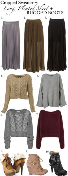 couldn't wear the thin skirts in the snow and cold, but i love the outfit ideas...